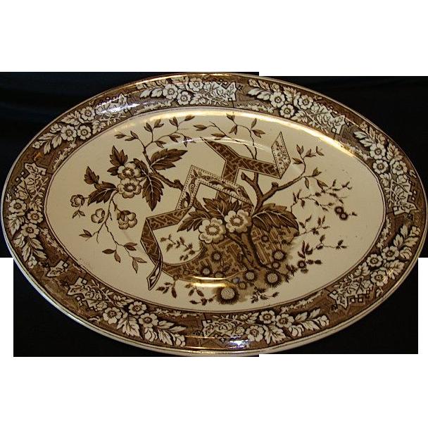 Wonderful Wedgwood Brown Aesthetic 14 3/4'' Earthenware Platter ~ Beatrice Pattern ~ Wedgwood & Co England 1880