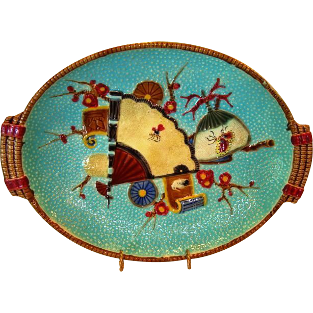Rare English Majolica PLATTER ~ Turquoise with Fan, Scroll, Crane & Insect ~ attributed to S Fielding & CO Stoke on Trent Staffordshire England 1879