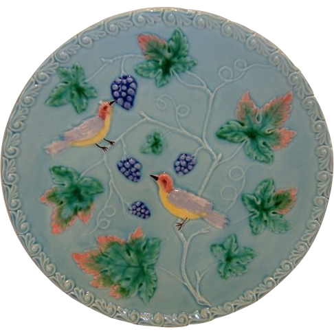 """Great 11 ¼"""" German Majolica Turquoise Platter~ Birds, grapes and Leaves ~ MBD Highmount Western Germany 1920's"""