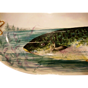 "SALE Exquisite and large Limoges Fish Platter ~ 25 3/8"" L ~ Hand Painted ..."