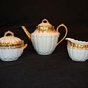 SALE Exquisite Raised Relief Limoges Porcelain Tea Set ~ Teapot, Creamer & Sugar ~ Hand Painte