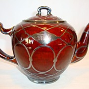 SOLD Beautiful Porcelain Reddish Brown Teapot with Mesh Sterling Silver Overlay ~ Lenox and Ma