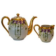SALE Fantastic Teapot and  Limoges Creamer ~ Pickard Decorated ~ Violets in Panel ~ Pickard ..