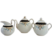 SALE Dainty Limoges Teapot, Creamer and Sugar Set ~ Hand Painted with Art Nouveau Designs~ ...