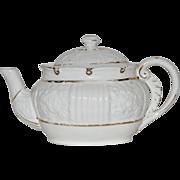 SALE Rare Porcelain Lotus Ware Teapot ~ Venice mold ~ White with Gold Accents ~ ...