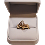 SALE Beautiful Wedding Ring Set ~ 14 Karat Marquise Diamond  .42 Carats &  54 Baquette .27 Car
