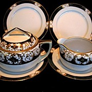 ORNATE (7) Piece Service Set, Nippon, Sugar Bowl with Lid, Matching Creamer and Four Dessert .