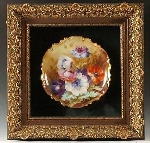 "Exquisite Limoges Porcelain 12"" Charger / Plate ~  Hand Painted by ""Luca"" with Colorful Poppies ~ 24"" Elaborately Carved, Gold Adorned Framed Shadowbox ~George Borgfeldt (Coronet) 1906-1920"