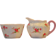 Shelley Bone China Creamer and Sugar Set ~ Rose Spray / Bridal Rose Pattern 13545~ Dainty ...