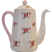 Shelley Bone China Coffee Pot ~ 3 Cup ~ Rose Spray / Bridal Rose Pattern 13545~ Dainty Shape ~
