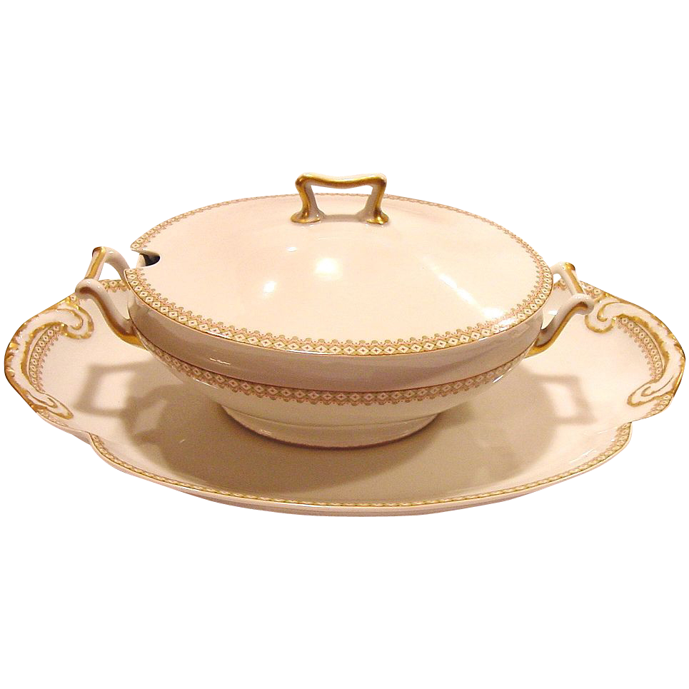 "Classic and Elegant Limoges Porcelain Soup Tureen with Large 18"" Platter ~ Factory Decorated with Green and Rust Diamond Designs ~ Theodore Haviland /Wanamaker Company 1903 w/underline"