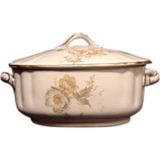 SALE Nice Old Wedgwood Sauce Tureen ~ Decorated with Green, White & Orange Poppy Transfers ~ .