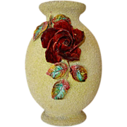 "Superb Large 11 1/2"" Bohemian Sand Majolica Vase with Burgundy Barbotine Stylized Roses ~ Wilhelm Schiller & Son  Bohemia 1850-1914"