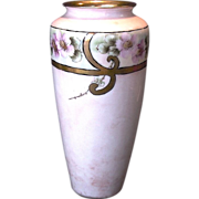 SALE Exquisite Limoges Porcelain Vase ~ Hand Painted with Wild Pink Roses ~ Tressemann & Vogt