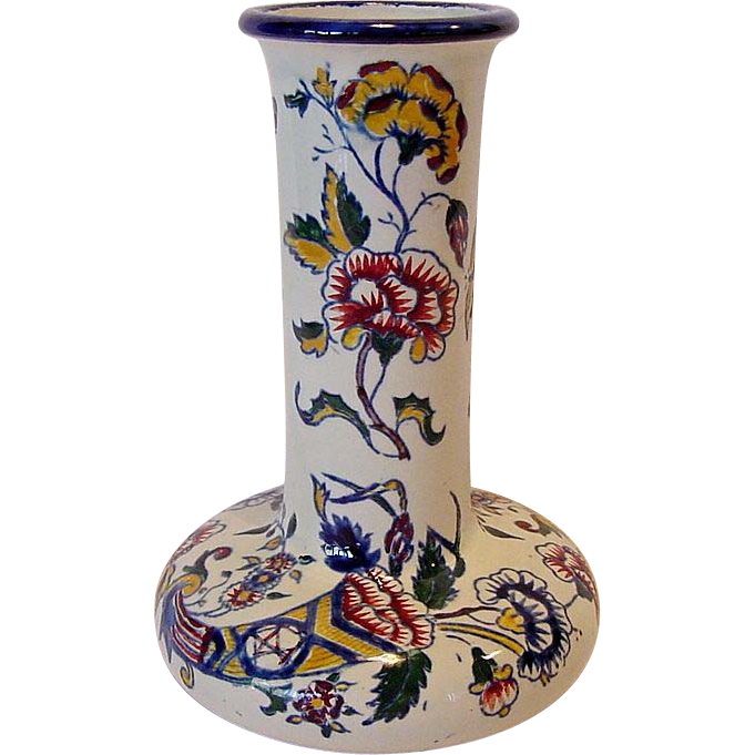 Awesome Gien Faience Vase Hand Painted with bright Cornucopia of Flowers~ PORCELAINE DE GIEN (Gien, France) - ca 1871 – 1875