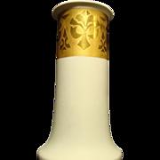 SALE Elegant, Stylish and Large! 11 3/4 '' Porcelain Vase ~ Cream Vellum and Gold Embossed ~ H