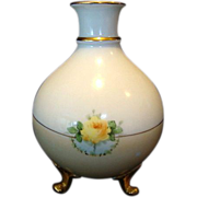 SALE Beautiful Bavarian Three Footed Vase ~ Hand Painted with Yellow Roses ~ Heinrich & Co 191