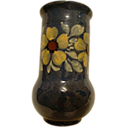 SALE Beautiful French Earthenware / Faience Vase ~ Hand Painted ~Cobalt Blue with Yellow Flowe