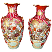 "SALE Fantastic Pair of Large Mirror  Image Satsuma Samurai 15"" Vases from the Meiji Period 1"