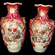 "SALE Fantastic Pair of Large Mirror  Image Satsuma Samurai 15"" Vases from the Meiji Period ."