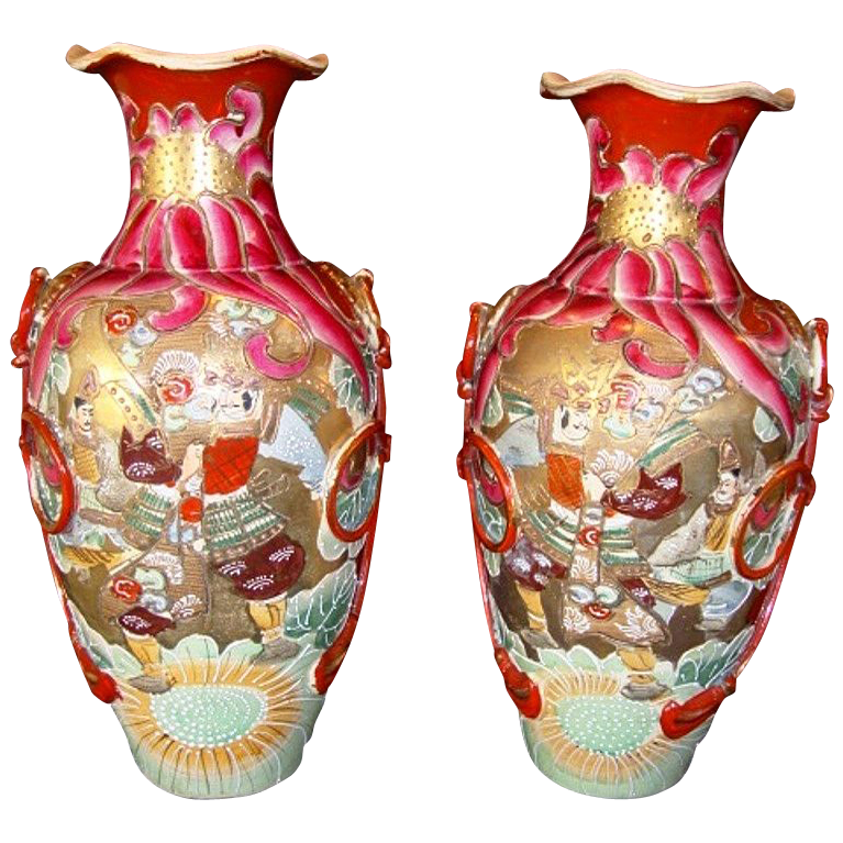 "Fantastic Pair of Large Mirror  Image Satsuma Samurai 15"" Vases from the Meiji Period 1868 to 1912"