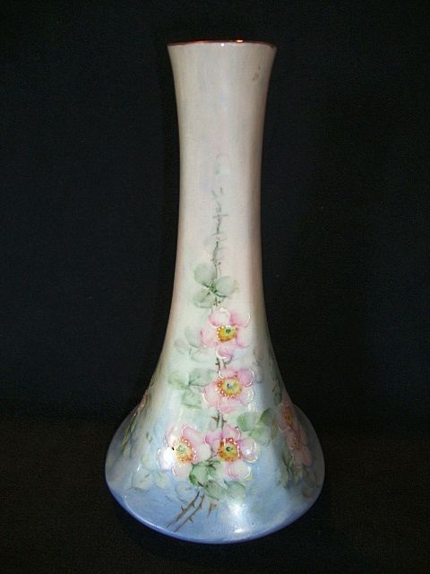 Unique Shaped Bohemian Porcelain Vase ~ Hand Painted with Pink Roses ~ Fischer & Mieg Epiag Pirkenhammer Bohemia 1910-1935