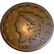 SALE 1831 United States of America Large Cent - Coronet Head - Copper Large Cent