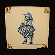 SALE GREAT Dutch Delft Ceramic Tile  WITH FLEUR DE LIS and a Drummer ~ Plateelbakkerij ...
