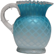 Blue Satin Glass Diamond Quilted Mother Of Pearl Pitcher Thorn Handle