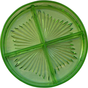 SOLD Green Depression Glass Divided Dish