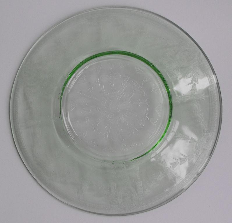 Three Green Depression Glass Bread Plates Rose Cameo