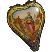 18th Century Heart Shape Sceaux Bonbonniere Enameled Scene La Joueuse de Vielle - The Hurdy ..