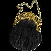 SALE Black Taffeta Handbag with Cherub Decorated Frame Marked Made in France
