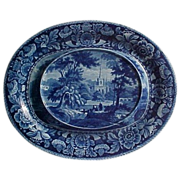 Davenport Blue and White Transfer Platter Cornucopia Flower Border Series Ca. 1825