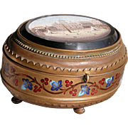 Micro Mosaic Casket Box Enamel Inlay with Scene of Vatican St Peters Square
