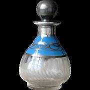 SALE Silver Overlay Perfume Bottle Blue Enamel