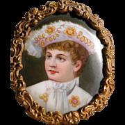 Antique Porcelain Portrait of Young Boy in Frame