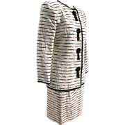 SALE Designer Suit Jacket Skirt by Victor Costa Beaded Black White Beige