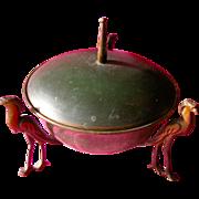 SALE Art Nouveau Metal Bowl Lidded Dish Brass Birds
