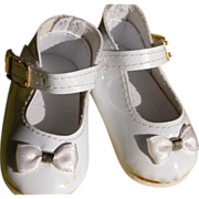 SALE Baby Doll Shoes with Bow and Ankle Strap White Patton