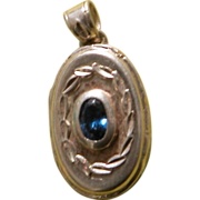 Sterling Silver Locket with Blue Stone Vintage