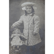 SALE Real Life Post Card Doll Carriage and Girl 1908