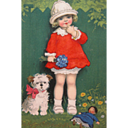 SOLD Post Card Artist Signed Girl Dog Doll Rare One