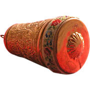 SOLD Vintage Etui Sewing Kit Thimble Holder with Scrolling and Petite Point