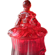 SALE Red Glass Powder Bowl in Shape of a Lady