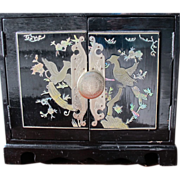 SOLD Oriental Jewelry Box with In-lay MOP and Butterfly Pulls Lined in Red