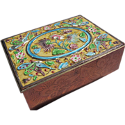 SALE Enamel Cigarette Box with Wood Lining and Butterflies