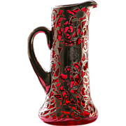SALE Sterling Silver Pitcher Red Glass with Overlay of Sterling Silver