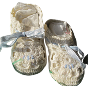 SALE Baby Doll Shoes Vintage Excellent Condition Crocheted