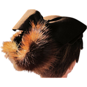 SALE Brown Hat with Fur and Provenance X Playboy Bunny